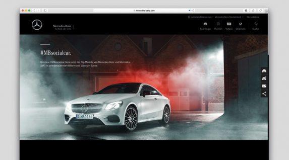Screenshot Website Mercedes-Benz mit #mbsocialcar Motiv
